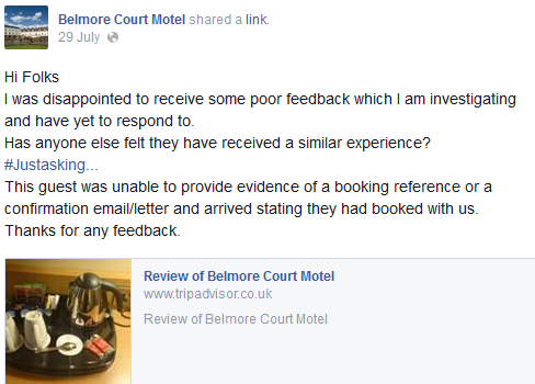 Handling negative online reviews on TripAdvisor and Facebook