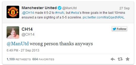 Man Utd Tweet to wrong Chicarito