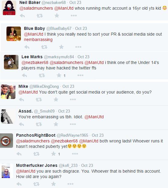 Man Utd Twitter management criticised
