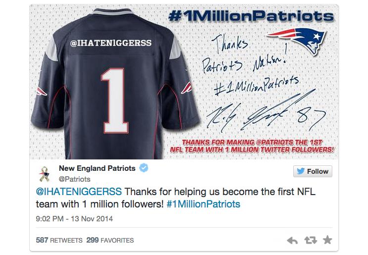 #1millionpatriots racist Twitter fail