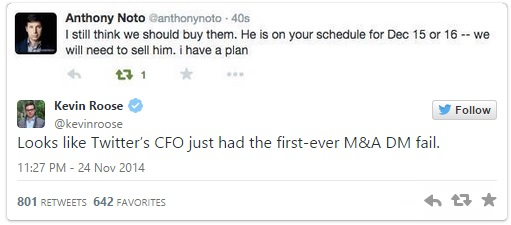 Anthony Noto Twitter DM fail