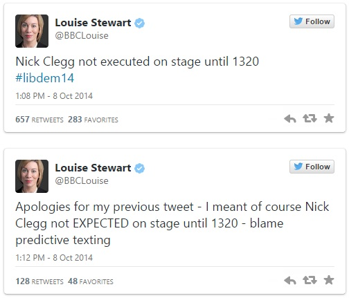 BBC Reporter tweets about Nick Clegg's execution