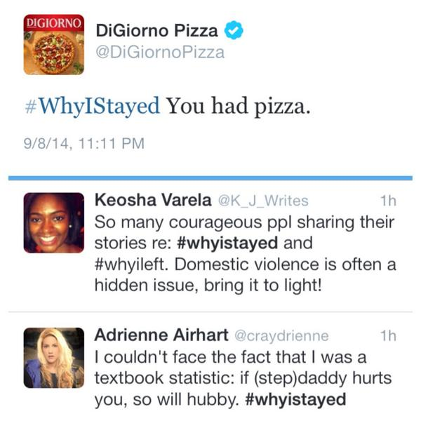 DiGiorno #WhyIStayed Twitter fail