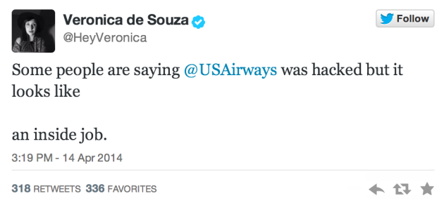 Funny tweet about US Airways Twitter fail