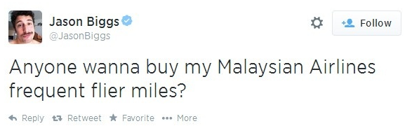 Jason Biggs Malaysian Airlines Tweet Jul 2014