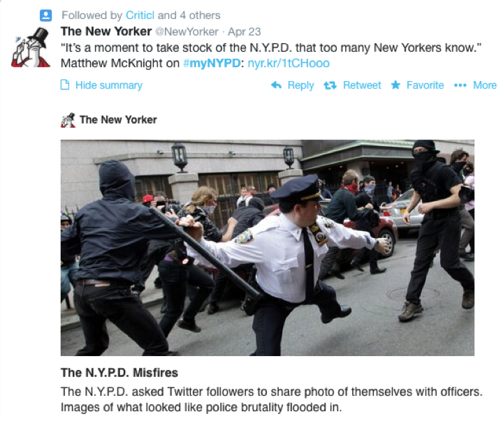 #myNYPD Twitter backlash