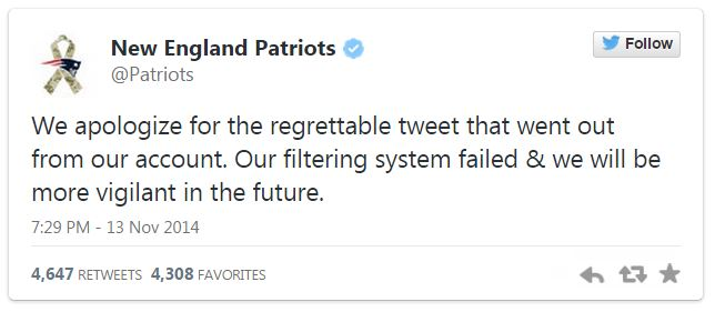 New England Patriots Twitter apology
