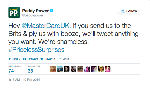 Paddy Power pokes fun at Mastercard Twitter