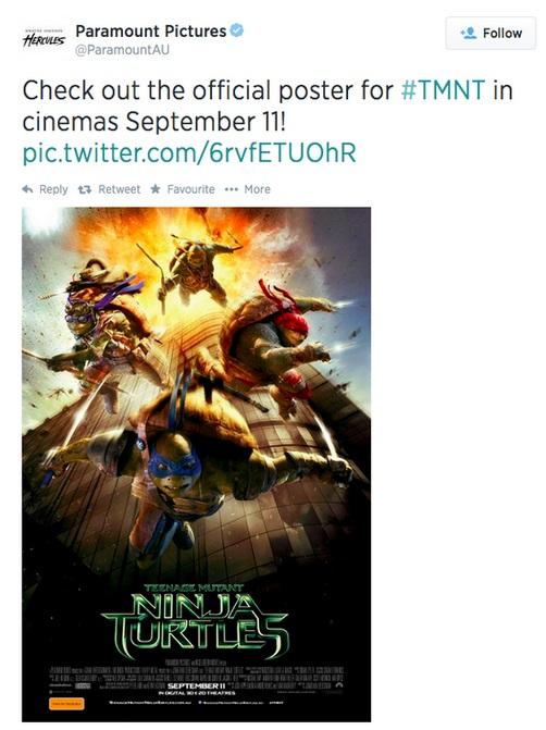 Paramount tweet Turtles 9-11 gaffe
