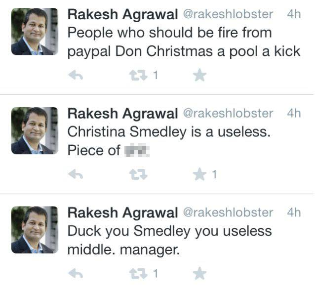 Paypal executive Rakesh Agrawal insults coworkers on twitternn