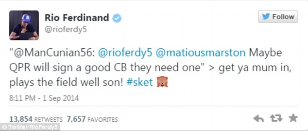 Rio Ferdinand tweet gets him fined and banned