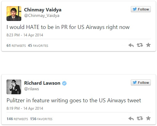 Social media response to US Airways tweet