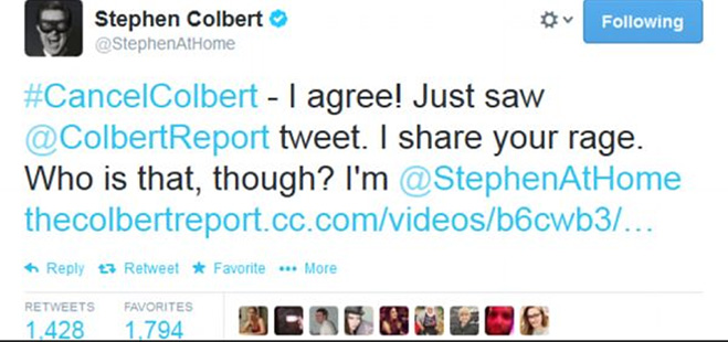 Stephen Colbert Twitter Fail Defense