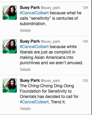 Suey Park tweets #CancelColbert