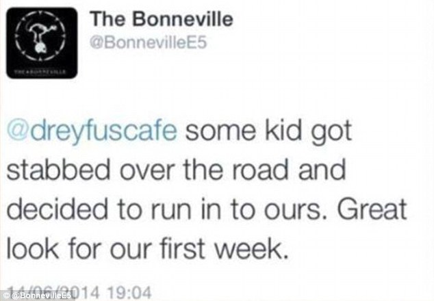 Twitter fail Bonneville bar UK
